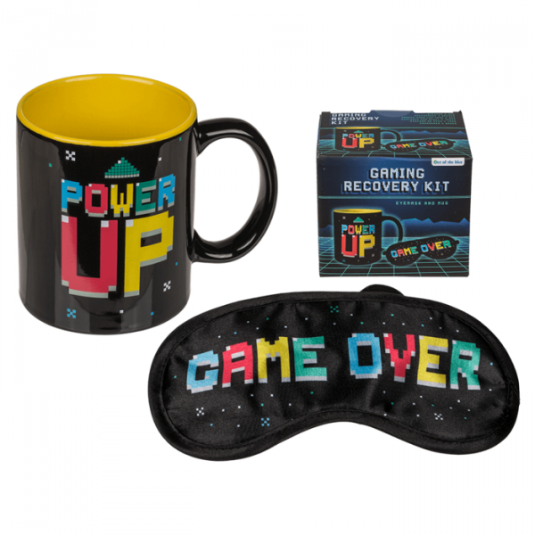 "Gaming Erholungs-Set Tasse ""Power Up"" & Augenmaske ""Game Over"""
