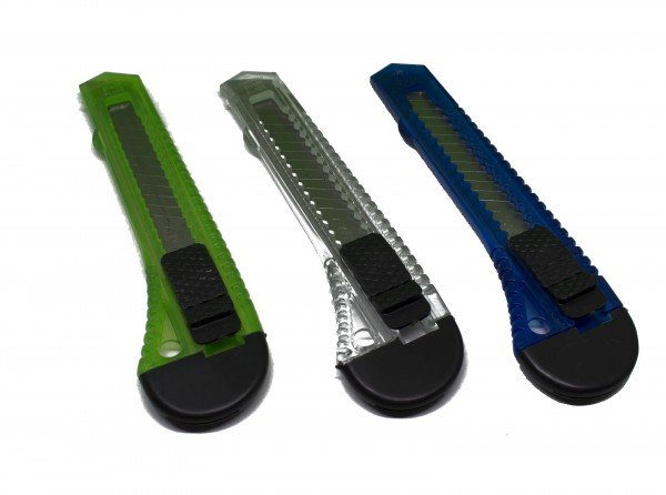 Cuttermesser Universal transparent, 3er Grün, Blau & Transparent