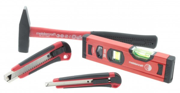 meistercraft Werkzeug Set Basic Schlosserhammer, Wasserwaage und Cuttermesser