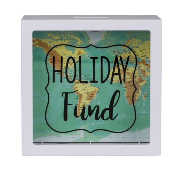 """Spardose für den Urlaub """"Holiday Fund"""" mit Weltkarten Design"""