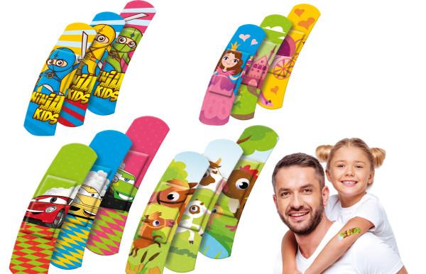 10 x Kinder Pflaster-Strips 6x1,7cm verschiedene Motive