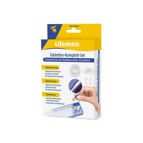 Tabletten Komplett-Set 3-in-1 mit Tablettenteiler, Tablettenmörser und Box