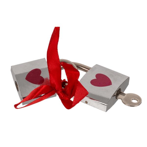 2 x Liebesschloss silber mit rotem Herz