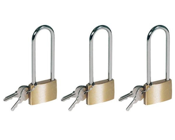 3 x Messing Vorhängeschloss mit langem Bügel 40 X 105 MM + 3 Schlüssel