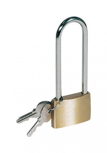 Messing Vorhängeschloss mit langem Bügel 40 X 105 MM + 3 Schlüssel