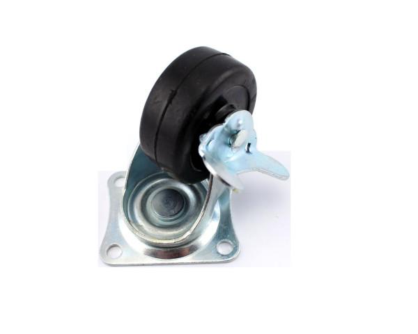 Lenkrolle mit Gummirad und Bremse 50 x 22 mm