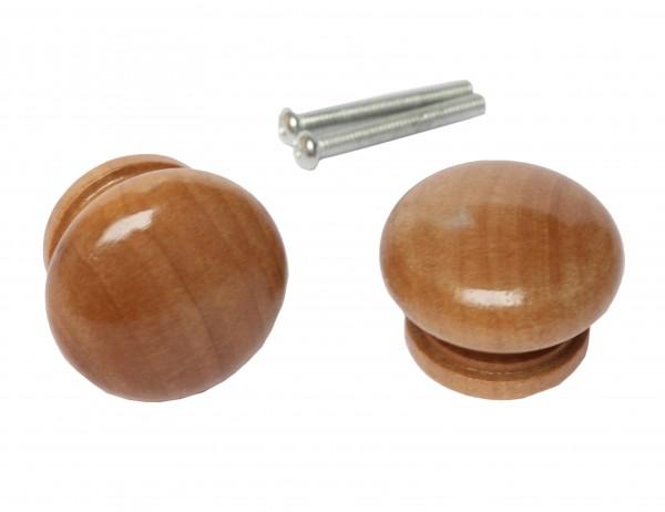 2 x Tür- / Schubladenknauf Holz dunkel inkl. Schrauben