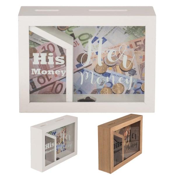 """Spardose aus Holz """"His money & Her money"""" verschiedene Farben"""