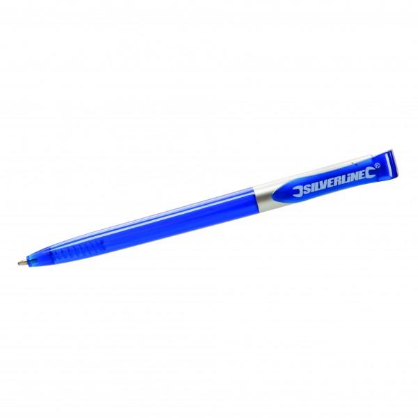 """100 x Kugelschreiber Blau """"Silverline"""""""